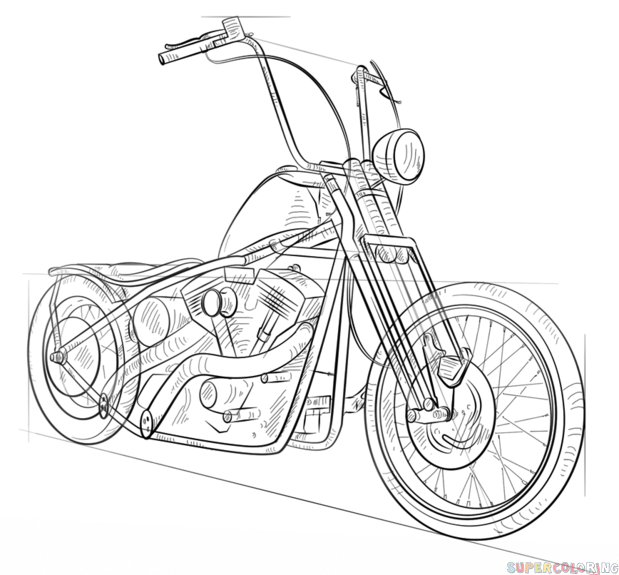619x575 How To Draw A Chopper Bike Step By Step. Drawing Tutorials