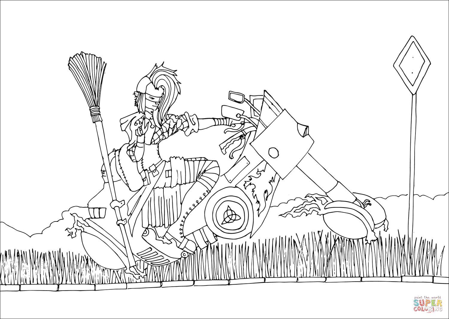 1500x1066 Punk Witch On Chopper Coloring Page Free Printable Coloring Pages