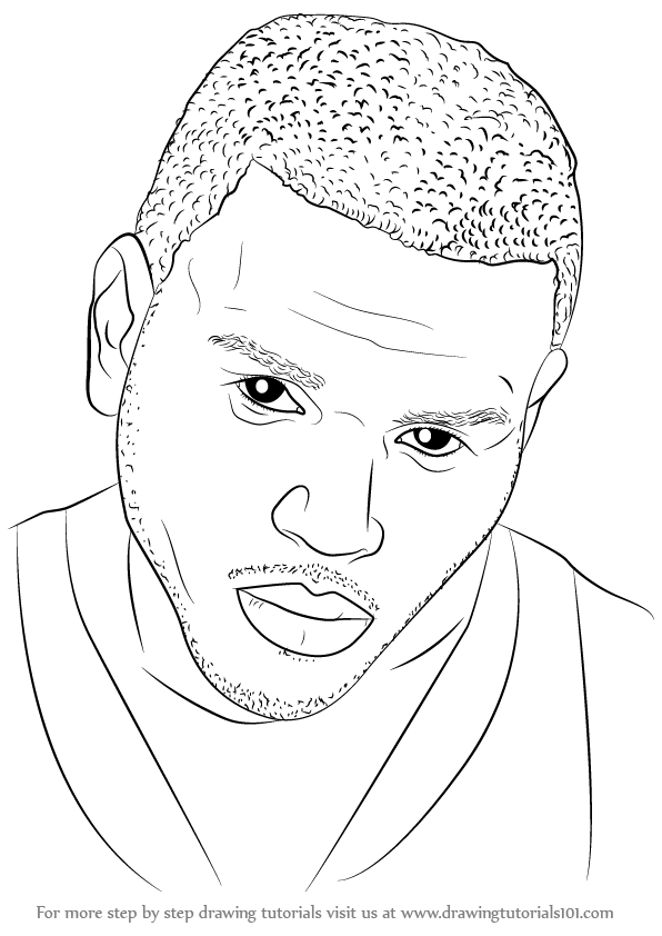 596x842 Learn How To Draw Chris Brown (Singers) Step By Step Drawing