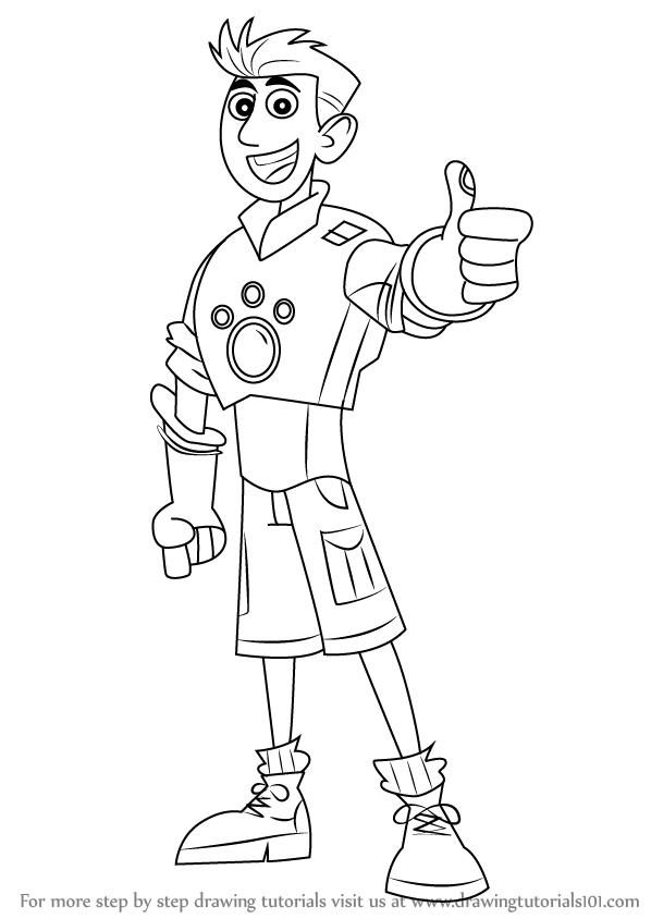 598x844 Learn How To Draw Chris Kratt From Wild Kratts (Wild Kratts) Step