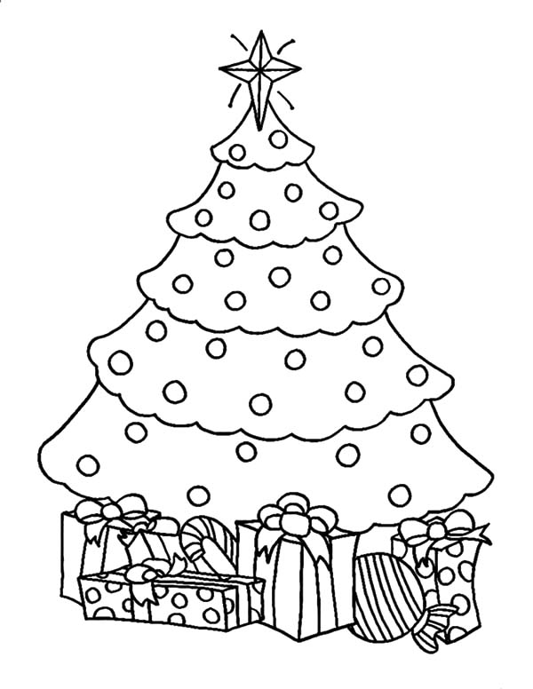 600x776 Christmas Tree And Gifts Coloring Pages