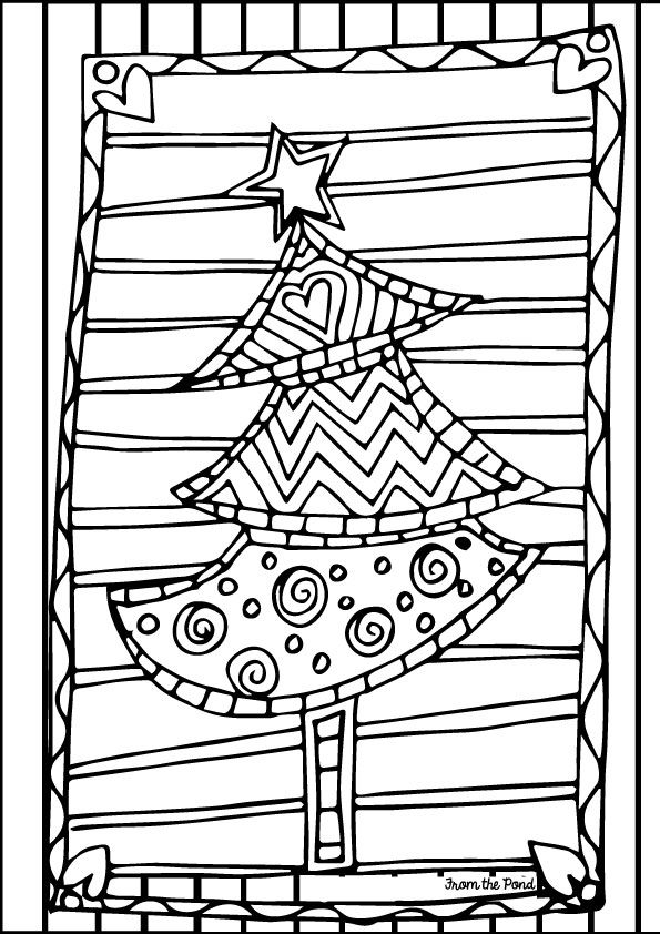 595x842 Free Scrappy Christmas Tree Coloring Page. Educational Finds