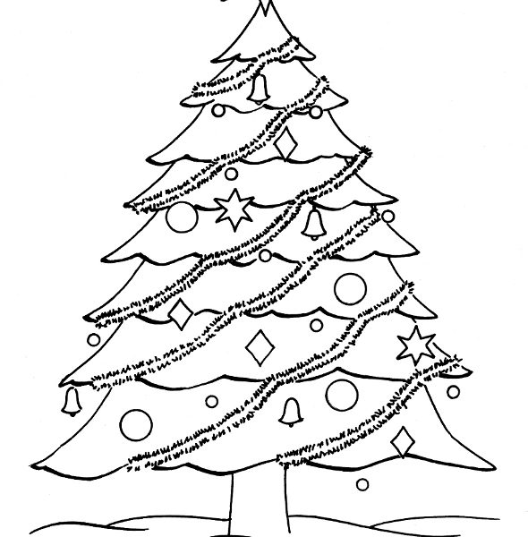 590x600 Christmas Tree Drawing For Coloring Christmas Tree 19 Objects