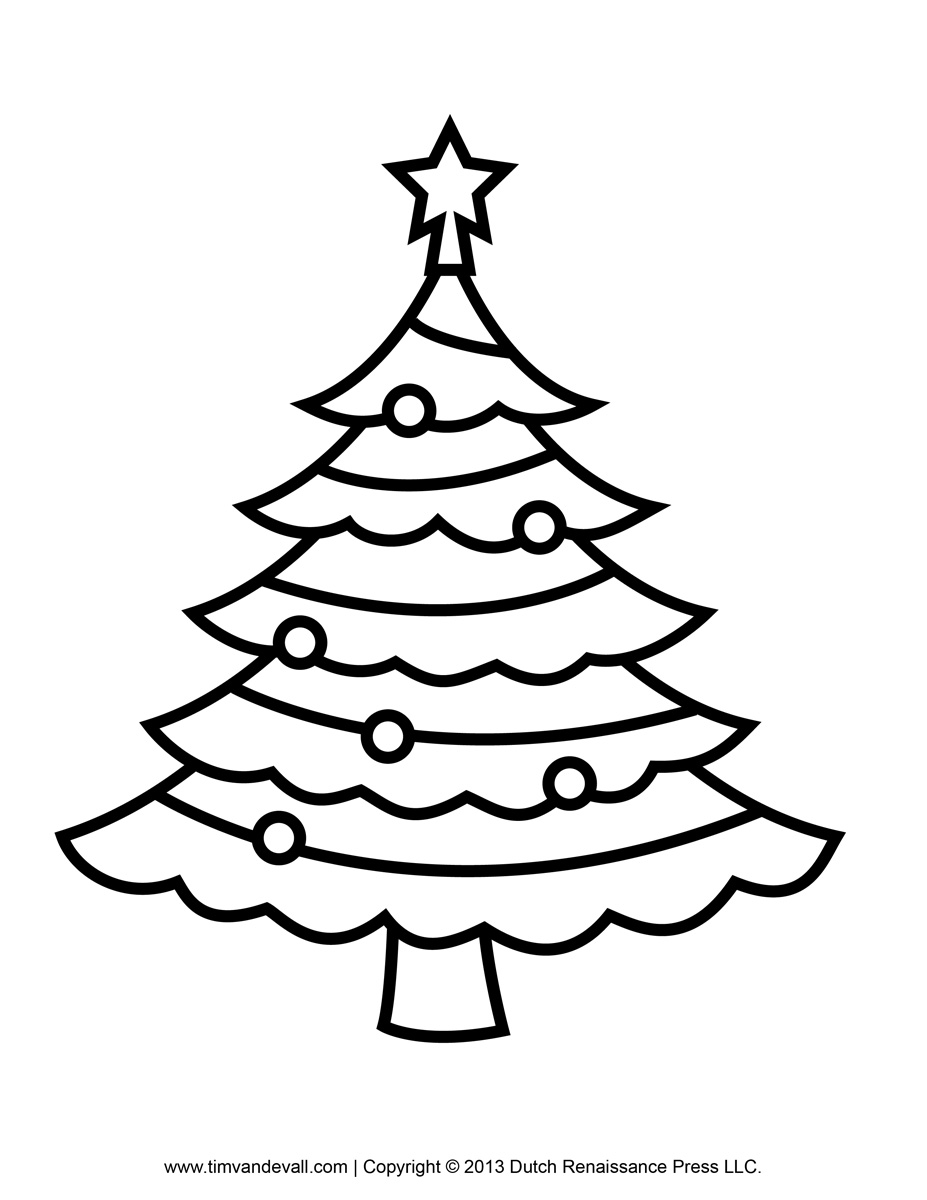 927x1200 Christmas Tree Clipart To Color Collection
