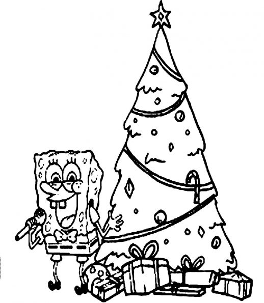 518x595 Spongebob Celebrating Christmas Near The Tree And Gifts