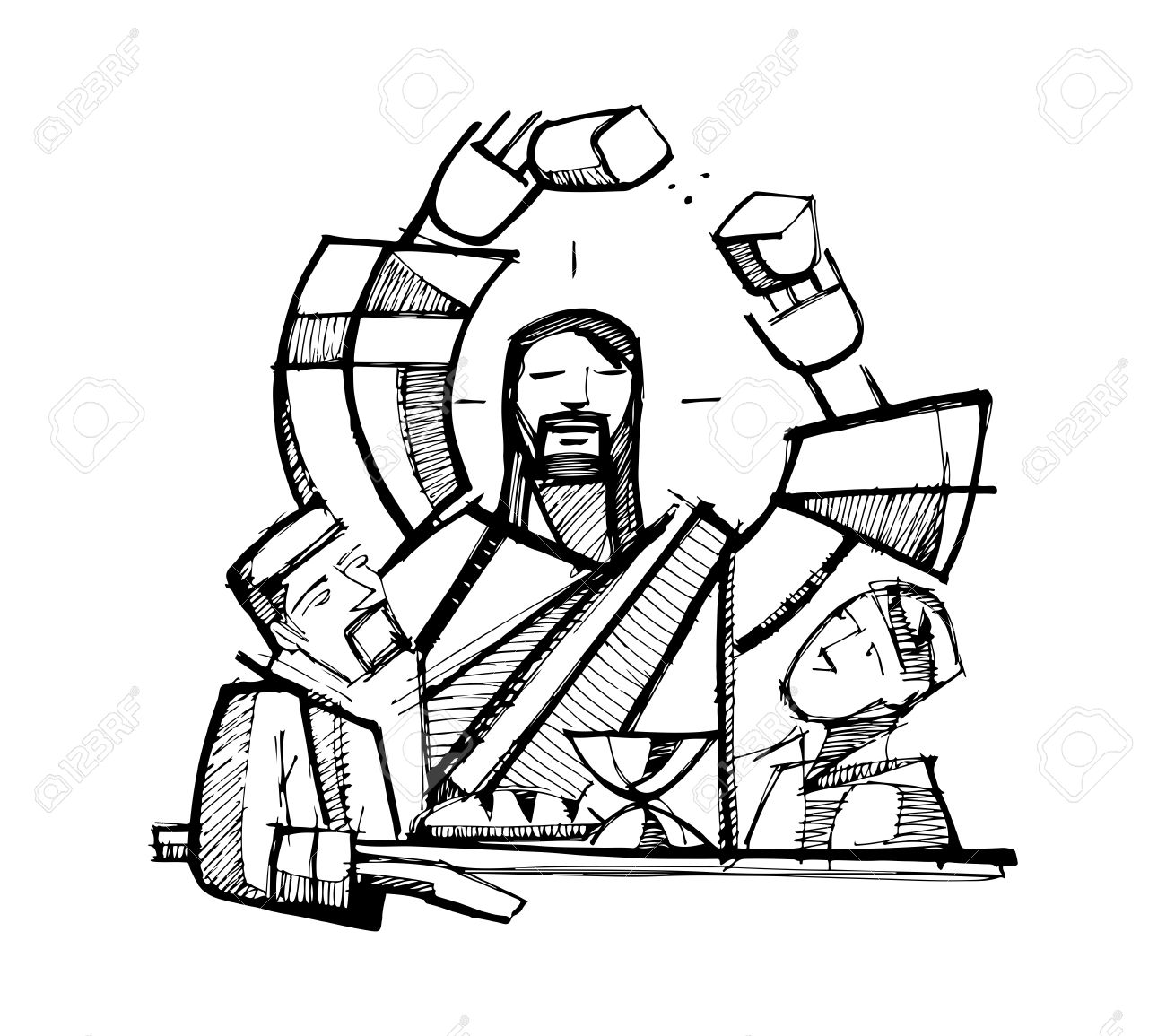 1300x1155 Hand Drawn Vector Illustration Or Drawing Of Jesus Christ Sharing