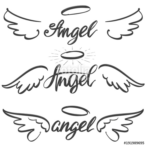 500x500 Angel Wings Icon Sketch Collection, Religious Calligraphic Text