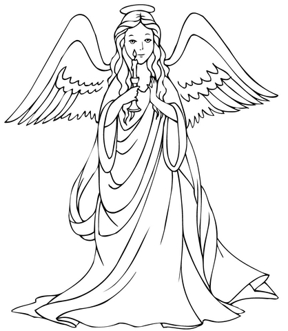 418x480 Christmas Angel With Candle Coloring Page Free Printable
