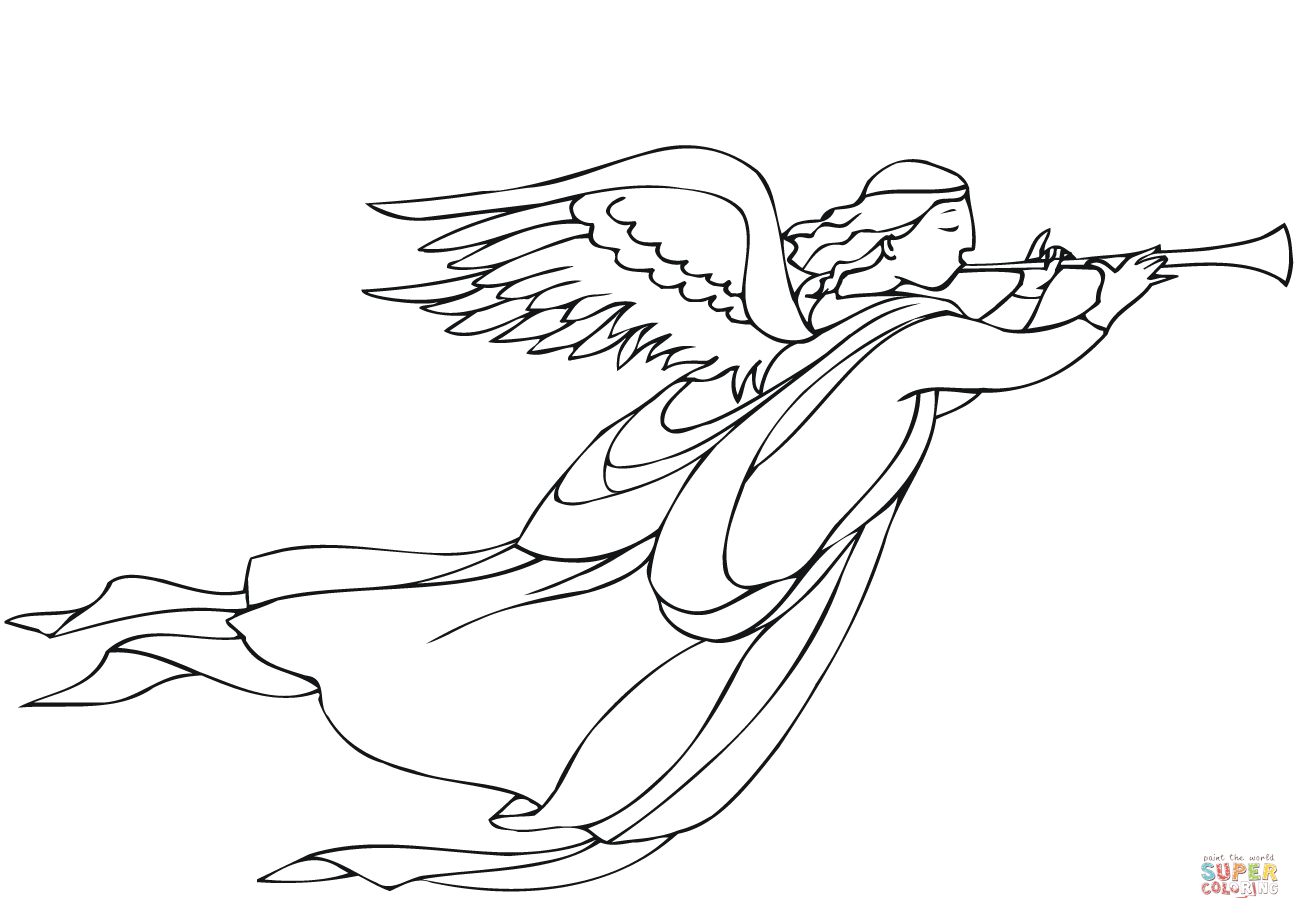 1300x919 Christmas Angel With Trumpet Coloring Page Free Printable
