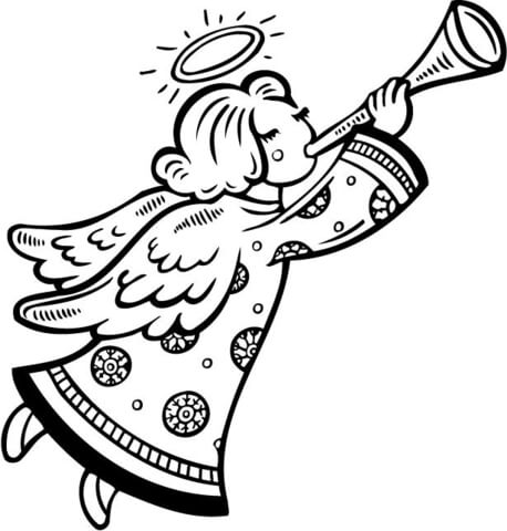 458x480 Christmas Angel Blows A Horn Coloring Page Free Printable