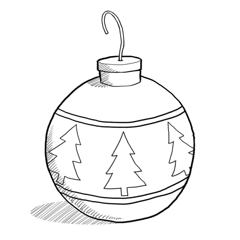 1024x1024 Drawing Of Christmas Ornaments Black And White Clip Art