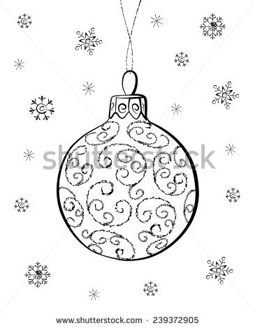365x470 Hand Drawn Christmas Ornament Drawing Merry Christmas Amp Happy