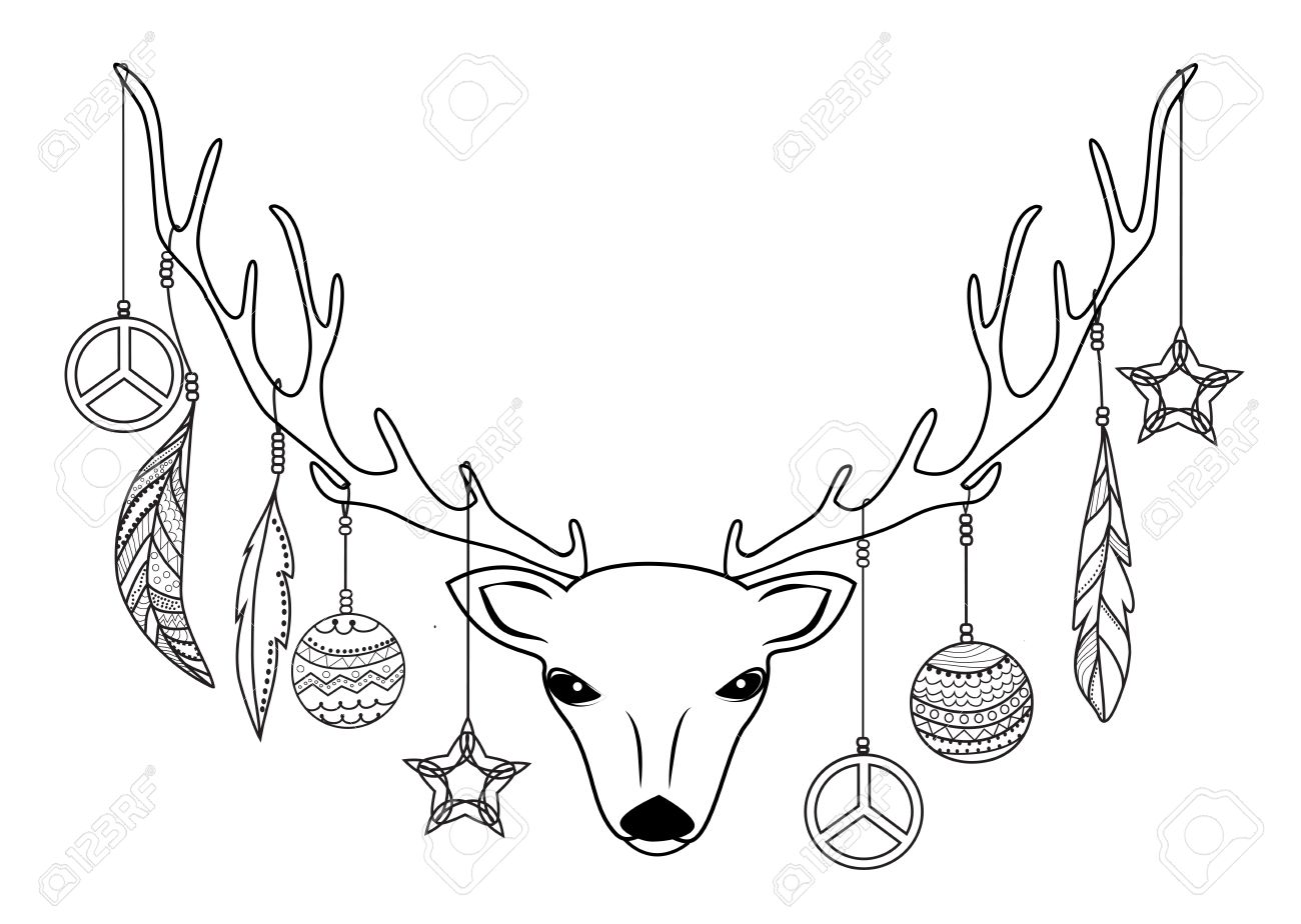 1300x924 Reindeer Head With Christmas Balls And Feathers Hanging On Antlers