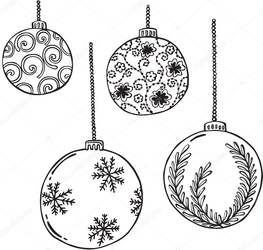 1023x969 Vector Illustration Of Various Christmas Balls Stock Vector