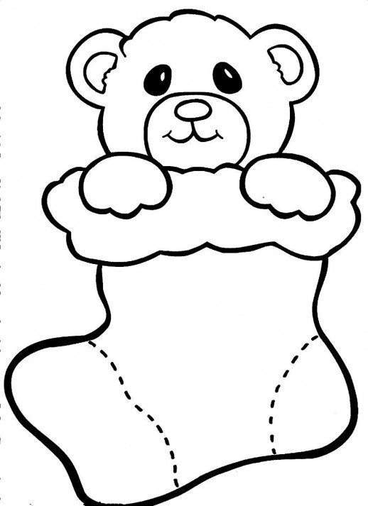 518x713 Christmas Bear Doll Coloring Pages