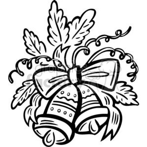 300x300 Royalty Free Black And White Christmas Bells 381142 Vector Clip
