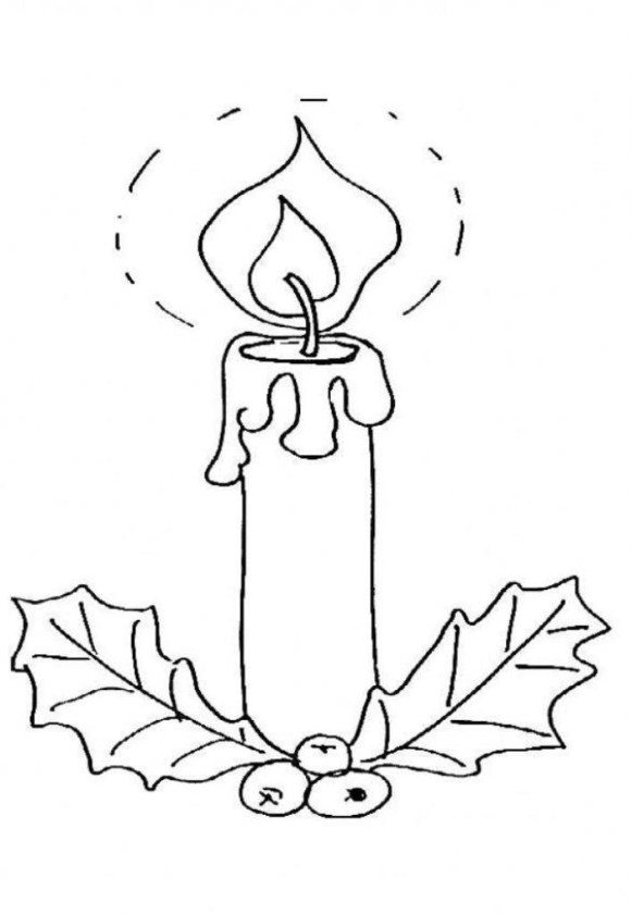580x841 Christmas Candle Coloring Sheet Printable Free Coloring Pages