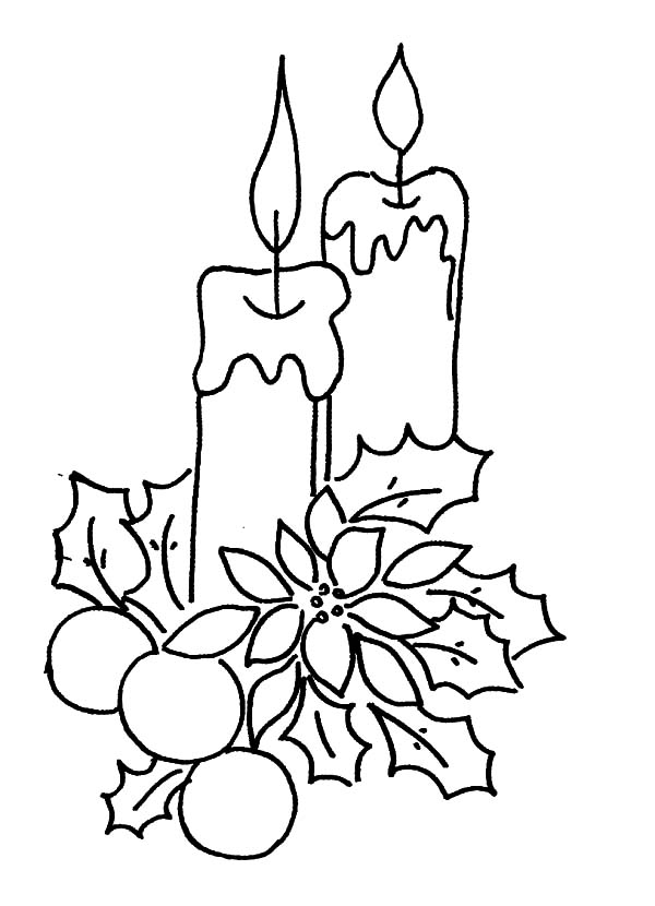 600x830 Christmas Candle Decorated With Flower And Leaves Coloring Pages