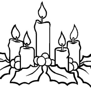 300x300 Christmas Candle Near Window Coloring Pages Christmas Candle Near