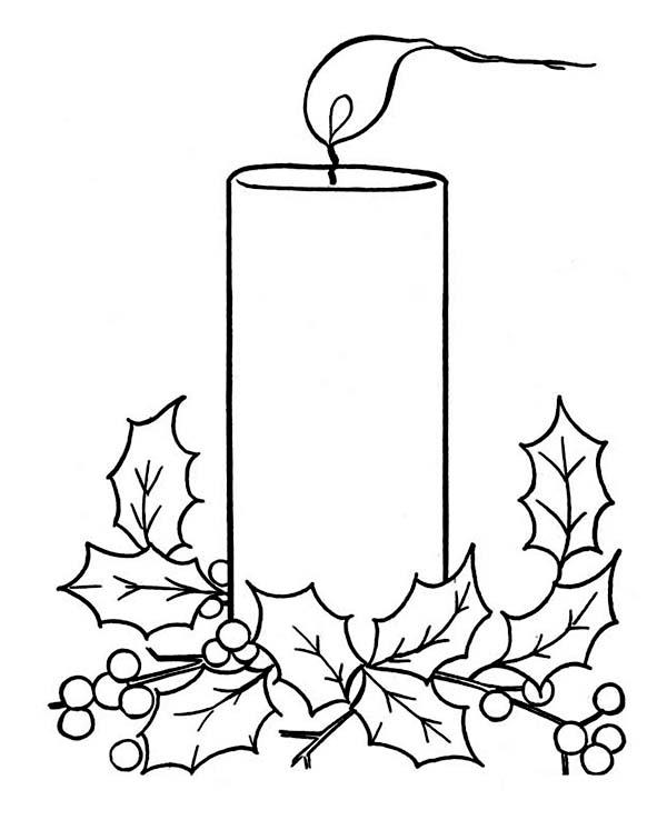 600x738 Christmas Candle On Light On Christmas Coloring Page Color Luna