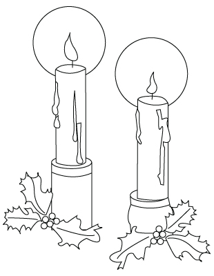 310x400 Christmas Candles Drawing To Color