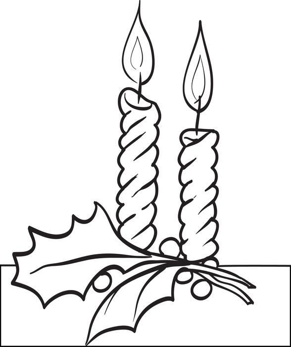 588x700 Free Printable Christmas Candles Coloring Page For Kids