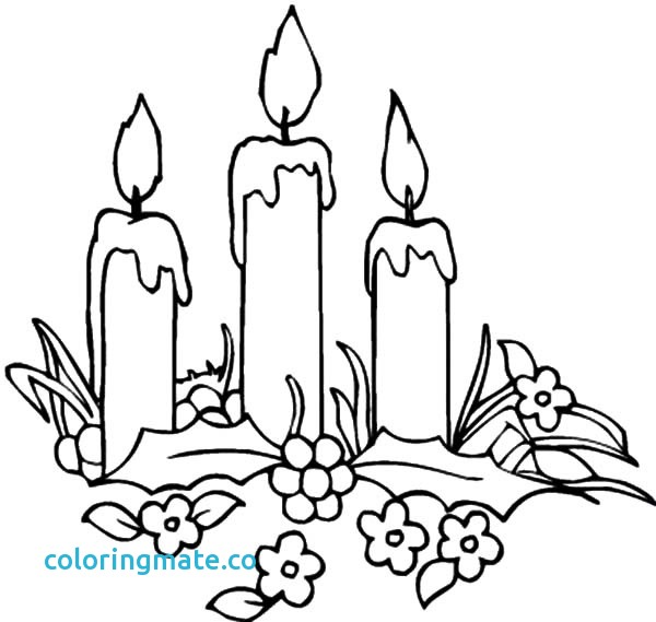 600x569 Candle Coloring Page New Christmas Sketch