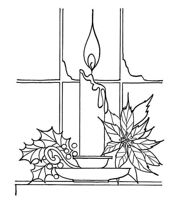 600x734 Christmas Candle Near Window Coloring Pages Christmas Candle Near