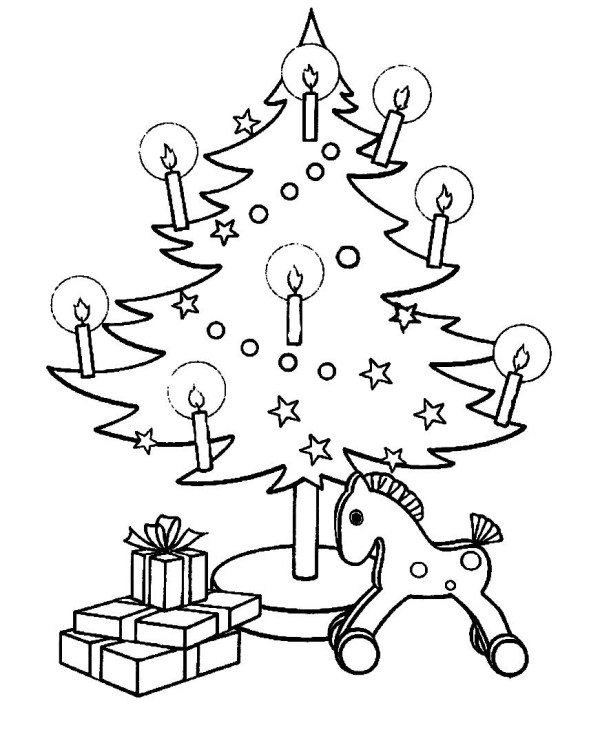 600x734 Christmas Tree With Candles Coloring Pages
