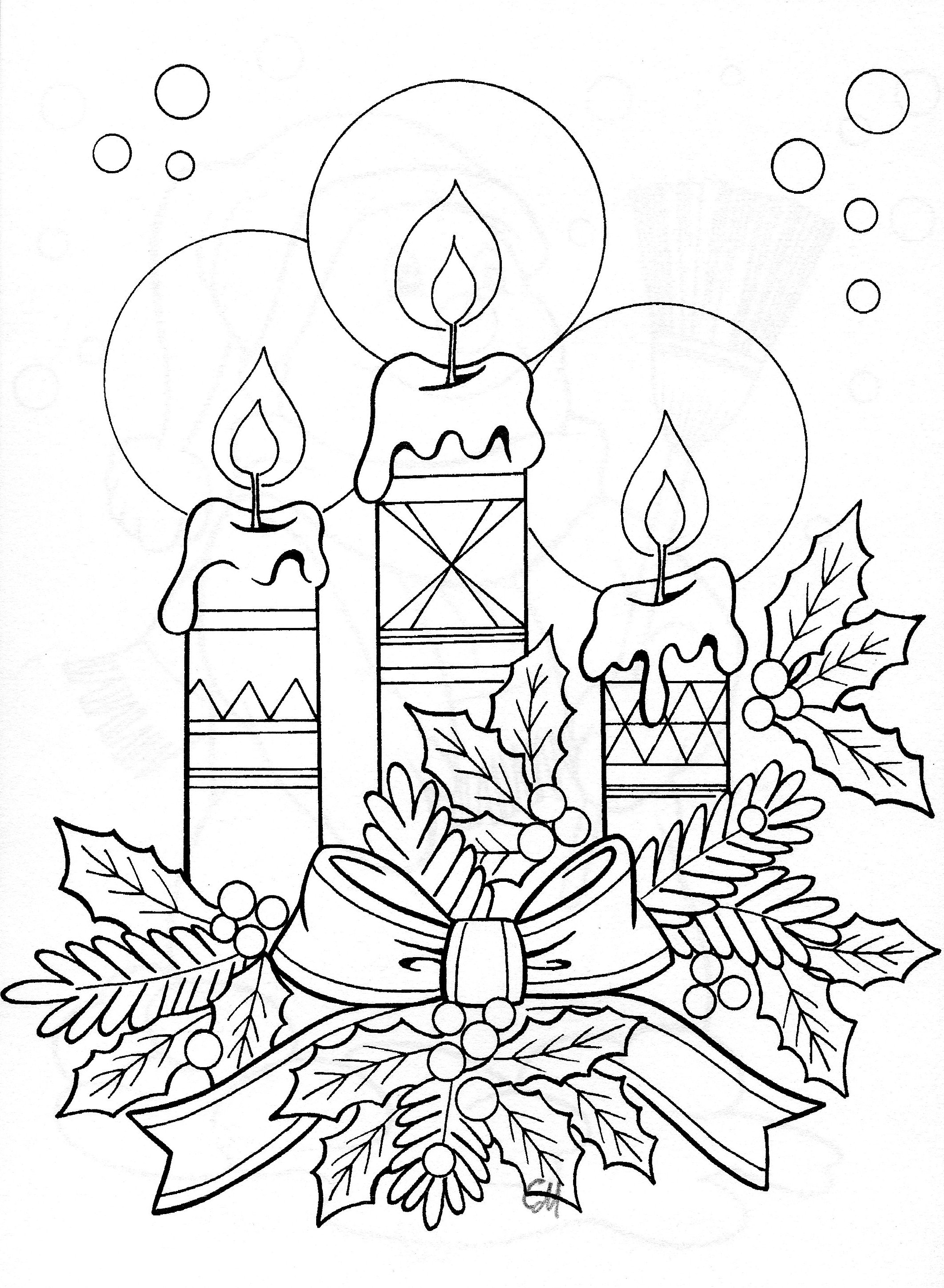 2120x2892 Drawing Of Candle Arrangement Christmas Candle