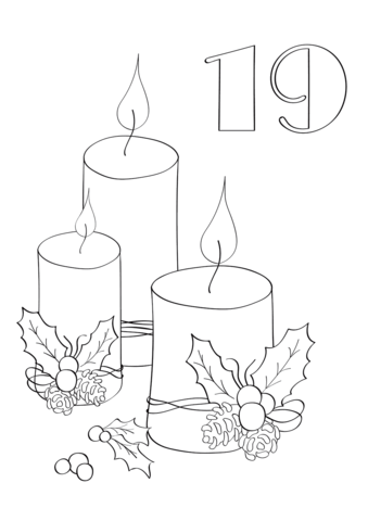339x480 December 19 With Christmas Candles Coloring Page Free Printable