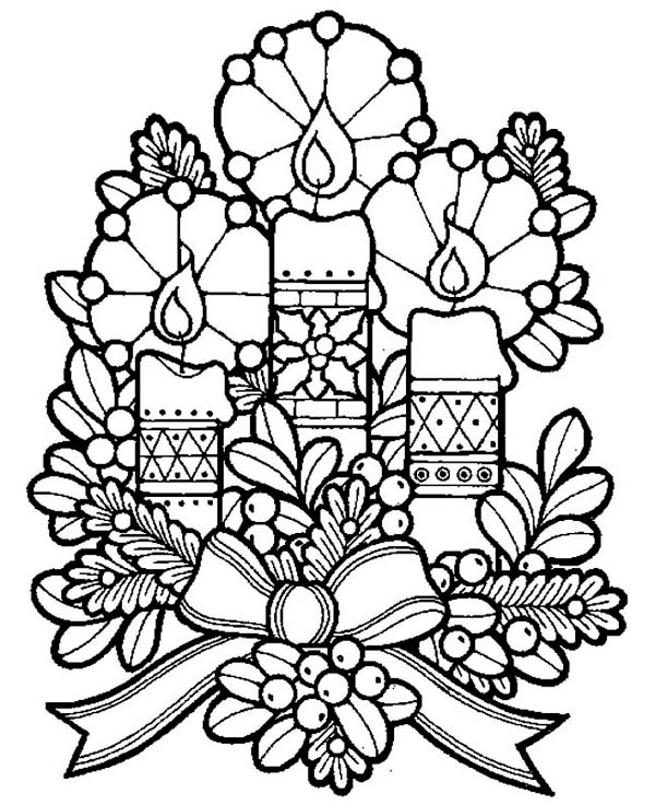 600x738 Three Lovely Candles For Christmas Eve On Christmas Coloring Page