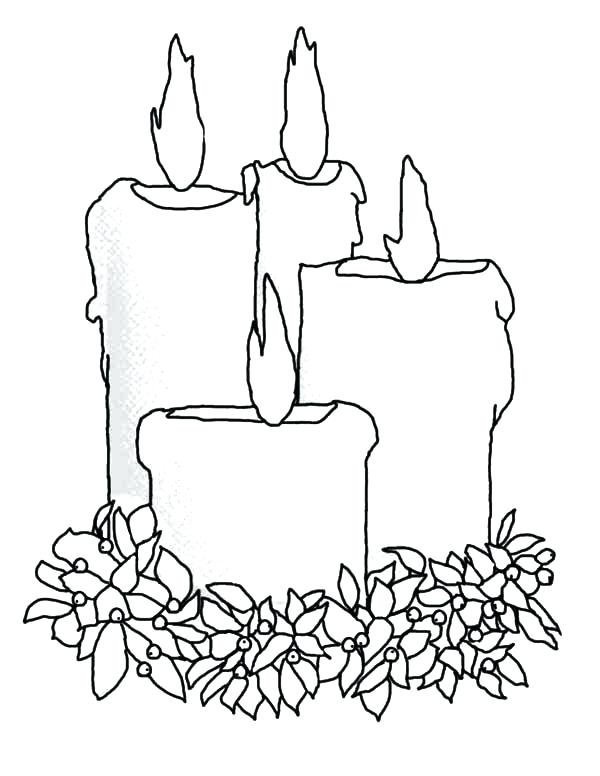 600x776 Christmas Candles Coloring Pages Codetracer.co