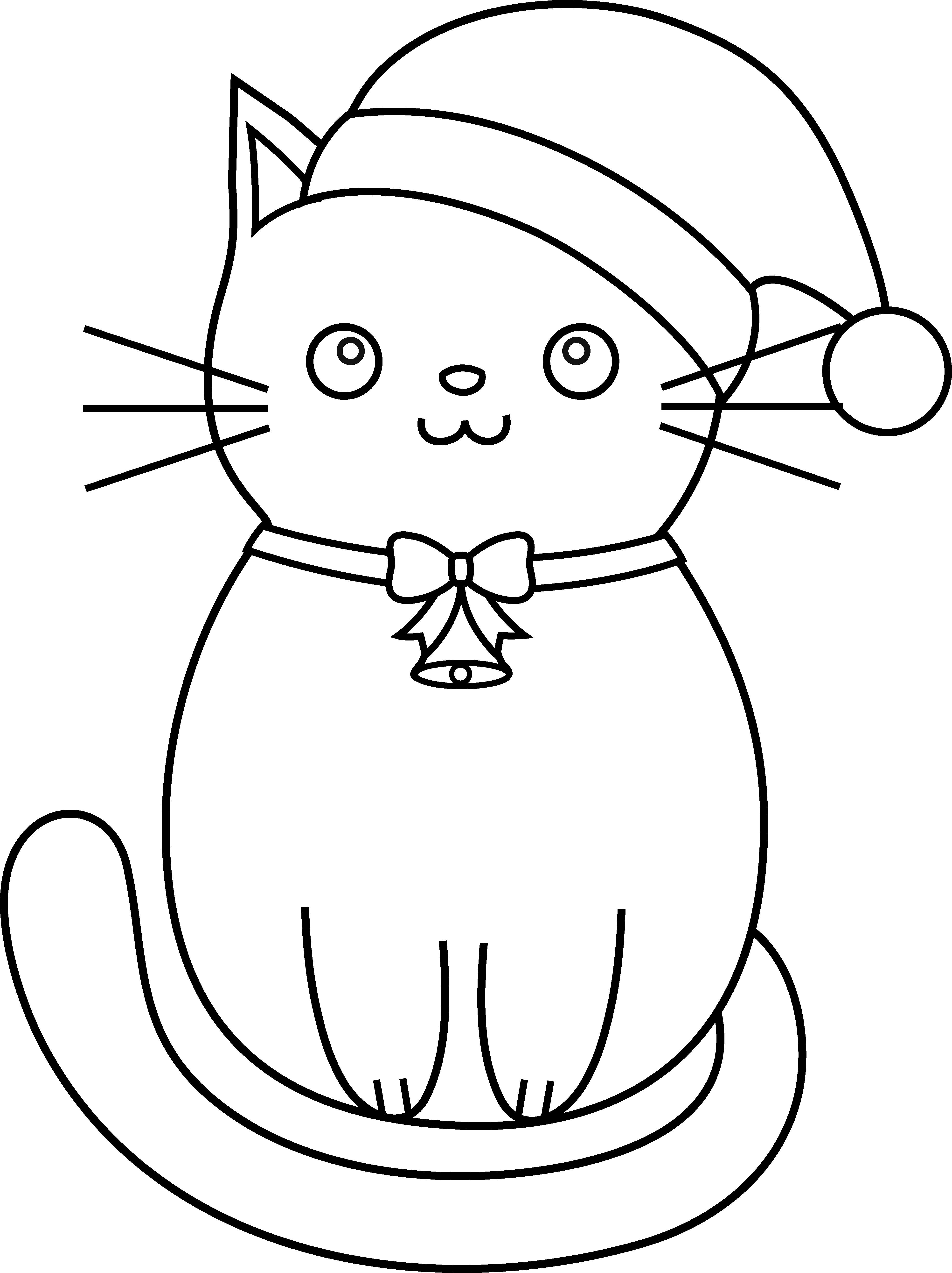 3945x5271 christmas cat line art