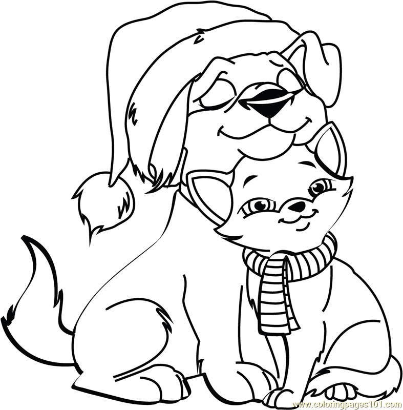 787x800 Christmas Cats And Dogs Coloring Pages Dog Cat