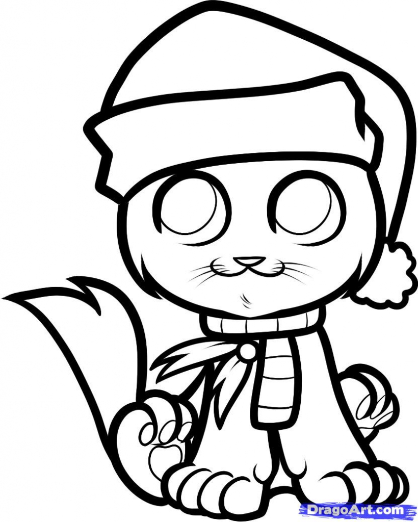 820x1024 Drawing Of Christmas How To Draw A Christmas Cat Christmas Cat