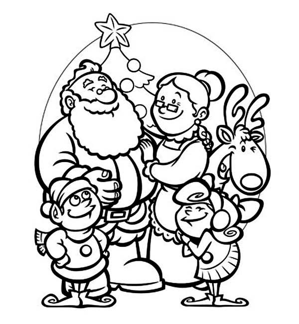 600x650 All Members Of Santas Family Celebrating Christmas Coloring Page