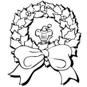 300x300 Black And White Clipart Picture Of A Christmas Wreath With A Mouse