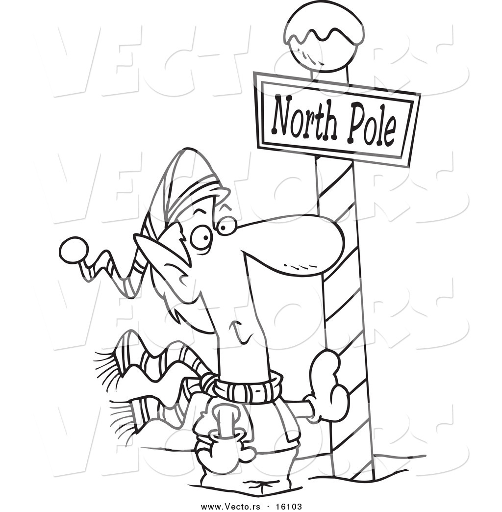 1024x1044 Vector Of A Cartoon Christmas Elf Leaning Against A North Pole