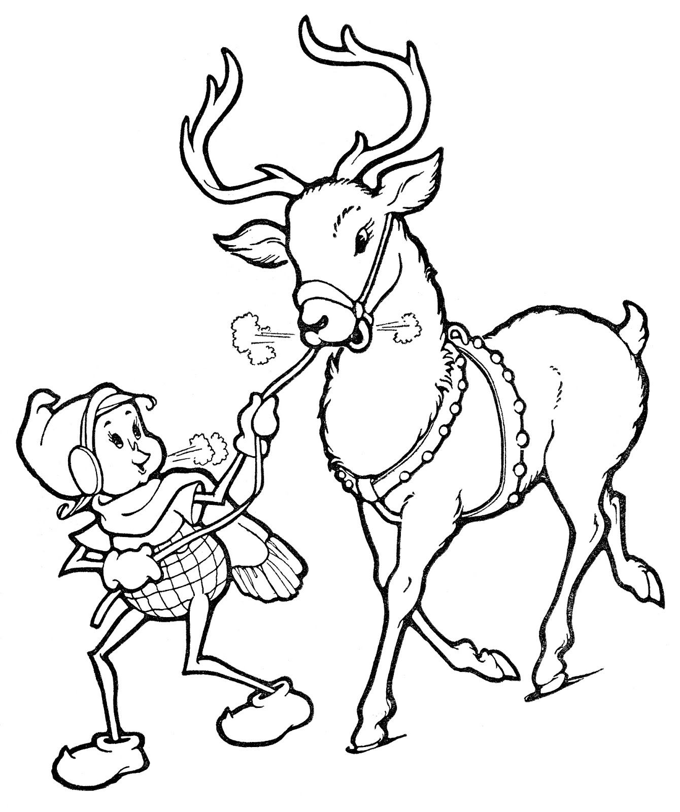 1340x1600 Christmas Clipart Black And White Reindeer