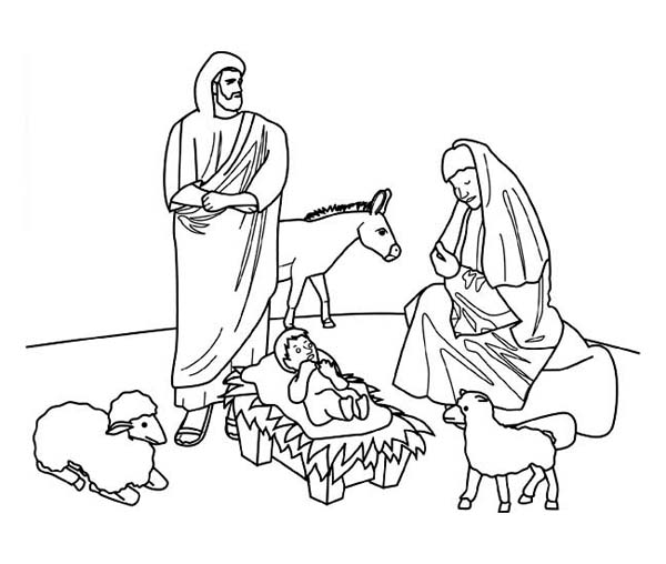 600x508 nativity of jesus on christmas day coloring page