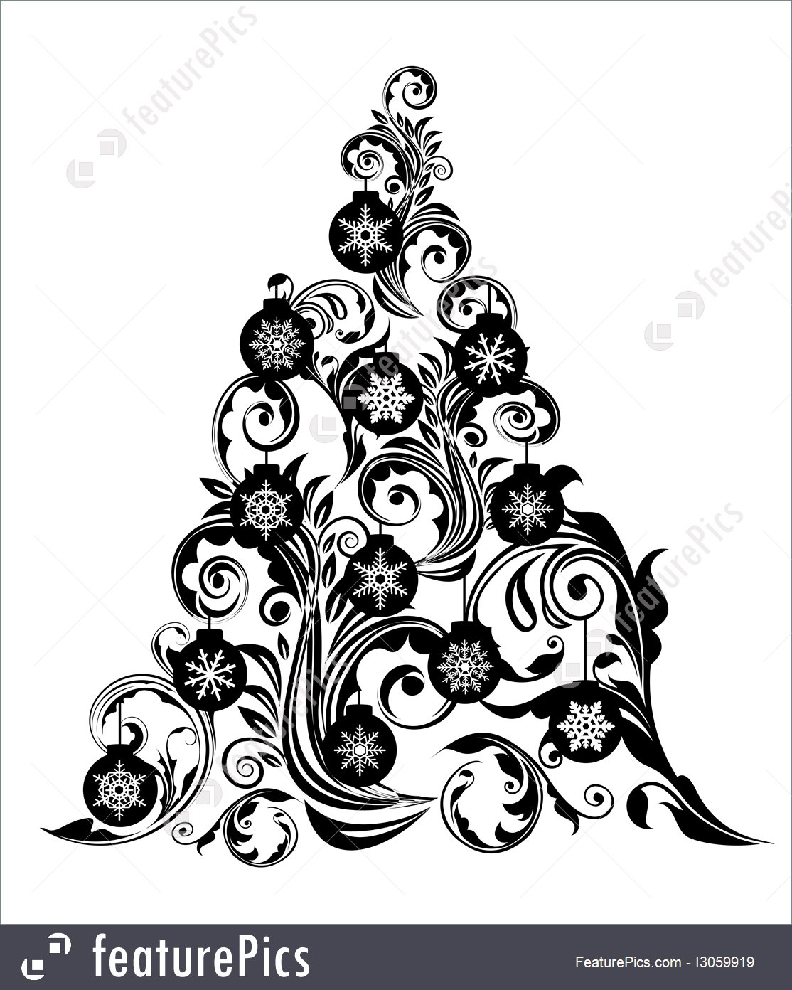 1114x1392 Holidays Christmas Tree With Leaf Swirls Design And Ornaments