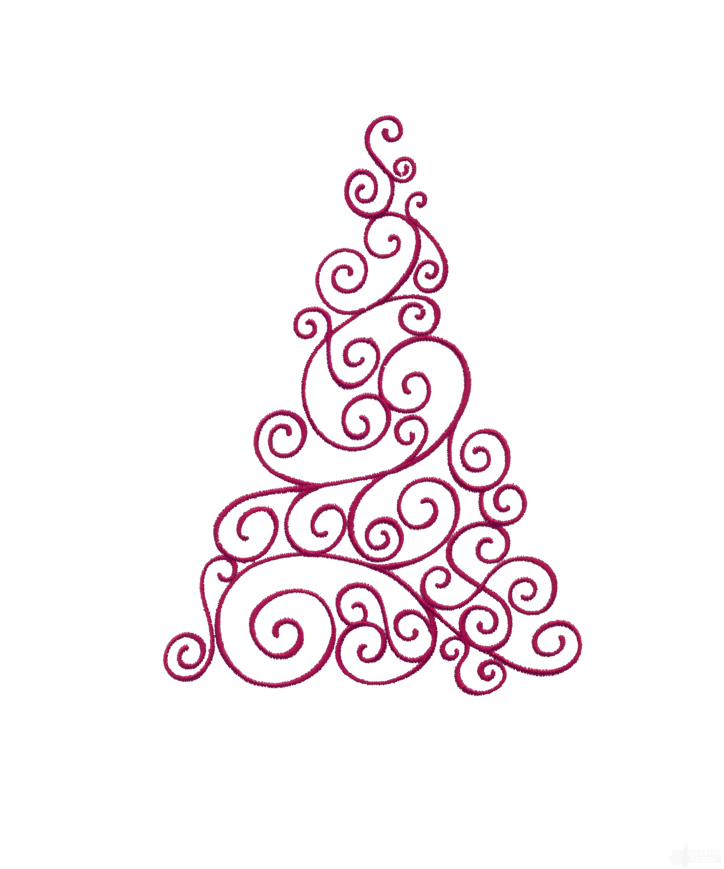 2336x2804 Scroll Christmas Tree Embroidery Design