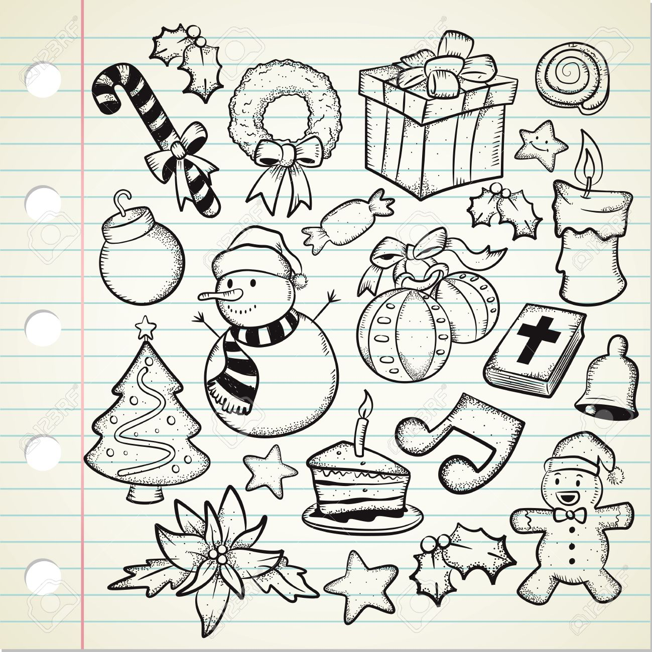 1299x1300 Set Of Christmas Decoration In Doodle Style Royalty Free Cliparts