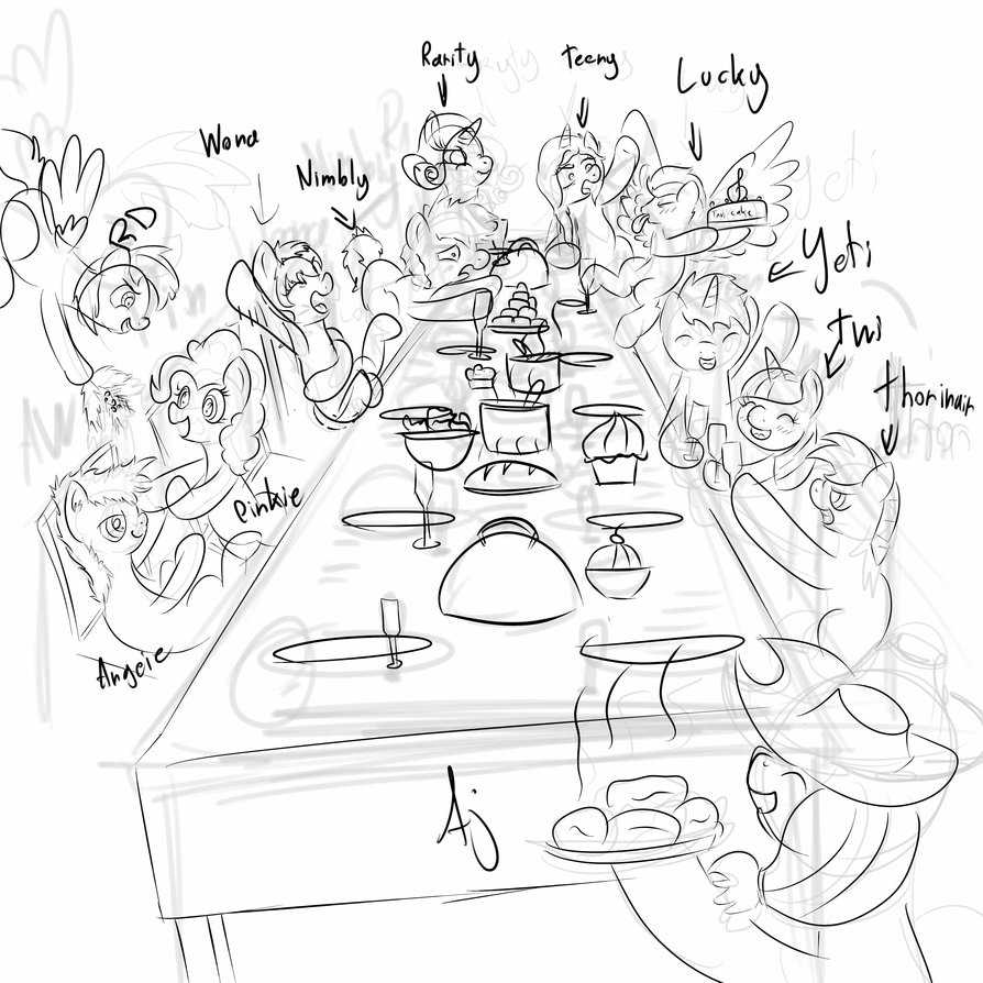 894x894 Christmas Dinner Sketch By Angelwing314