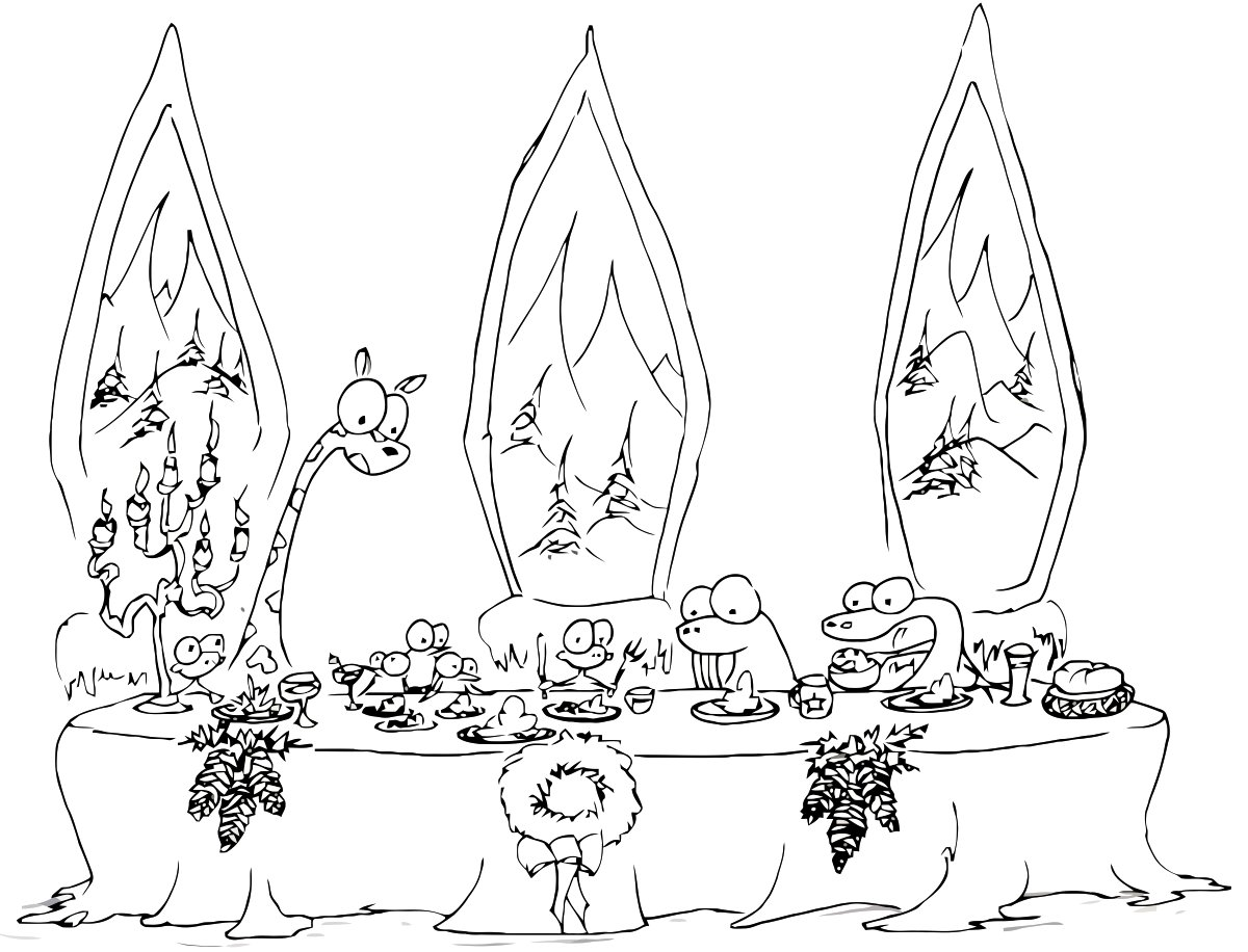 1200x916 A Christmas Dinner Coloring Page With Monkeys Walrus And Some