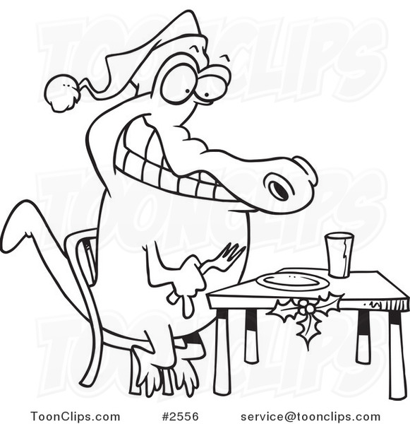581x600 Cartoon Black And White Line Drawing Of A Christmas Gator