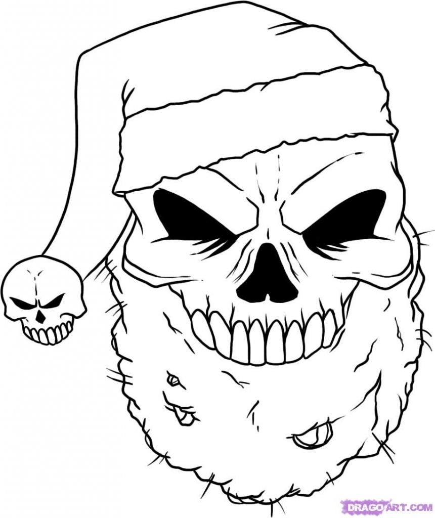 860x1024 Christmas Drawings Ideas How To Draw A Christmas Skull Step Step