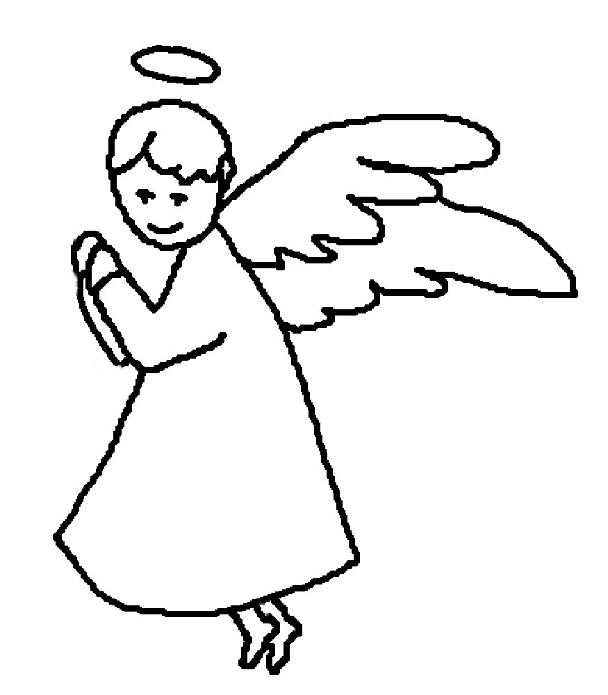875x1000 Angel Clipart Outline Drawing