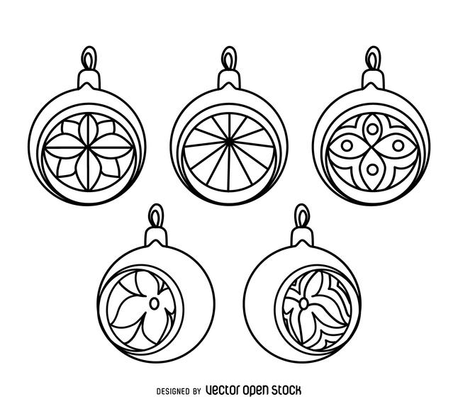 646x570 Classic Christmas Ornament Outlines Set
